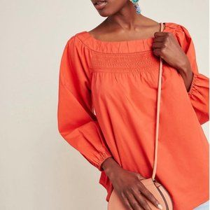 Anthropologie Jessie Smocked Swing coral blouse -M